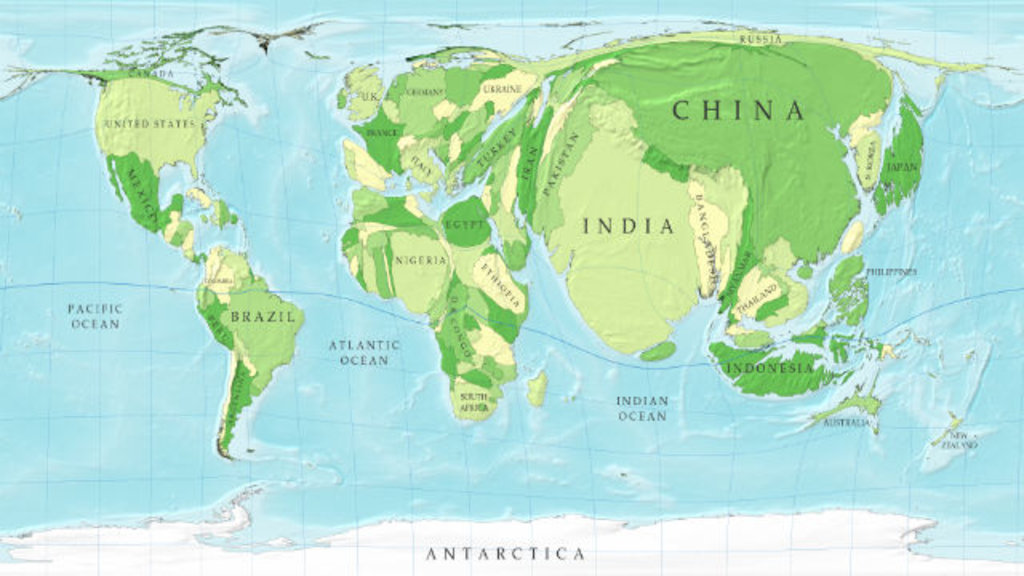 96 a cartogram of the worlds population big think this map is part of a series of cartograms in which the actual geography is distorted in order to demonstrate information about the countries shown gumiabroncs Image collections