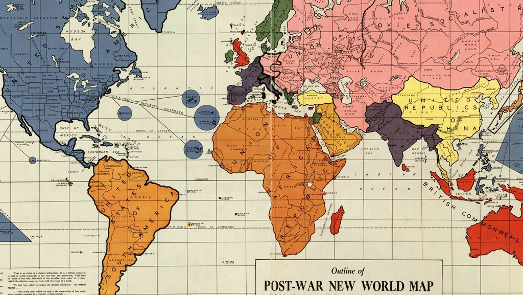 A 1942 map of the new world order big think published in philadelphia in early 1942 this outline of the post war new world map created by maurice gomberg shows a proposal to re arrange the gumiabroncs Images