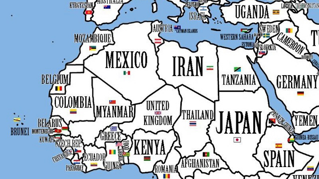 Weird Map of the Worlds Countries Rearranged by Population