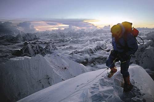 Doug-scott-on-everest-at-sunset