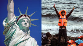 Syrian_refugee_and_statue