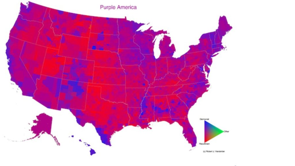 is the united states purple or horribly divided look closer the united states of america is as divided as it has been for at