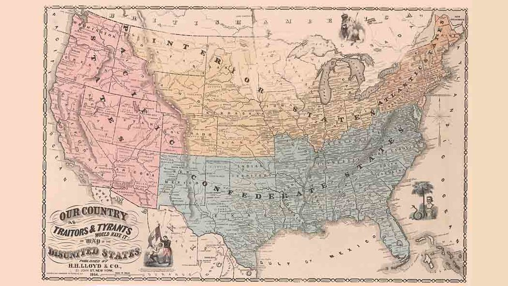 A Map Of The Disunited States As Traitors And Tyrants Would Have - Civil War Map Of Us