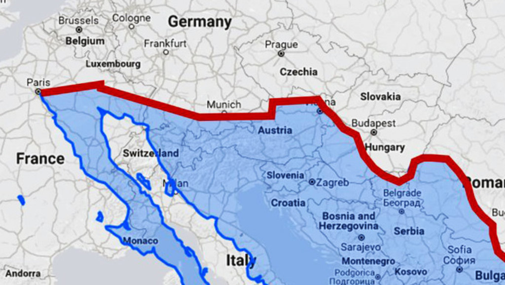 us border wall with mexico overlaid on a map of europe reddit