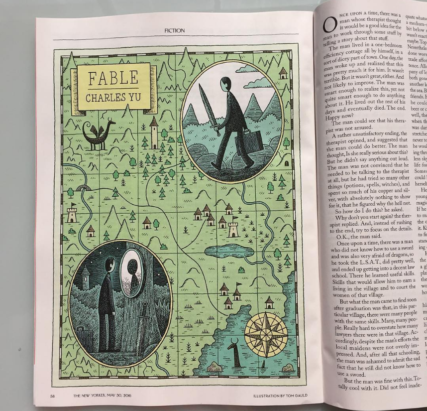 tom gauld illustration for charles yu short story 'fable' in the new yorker