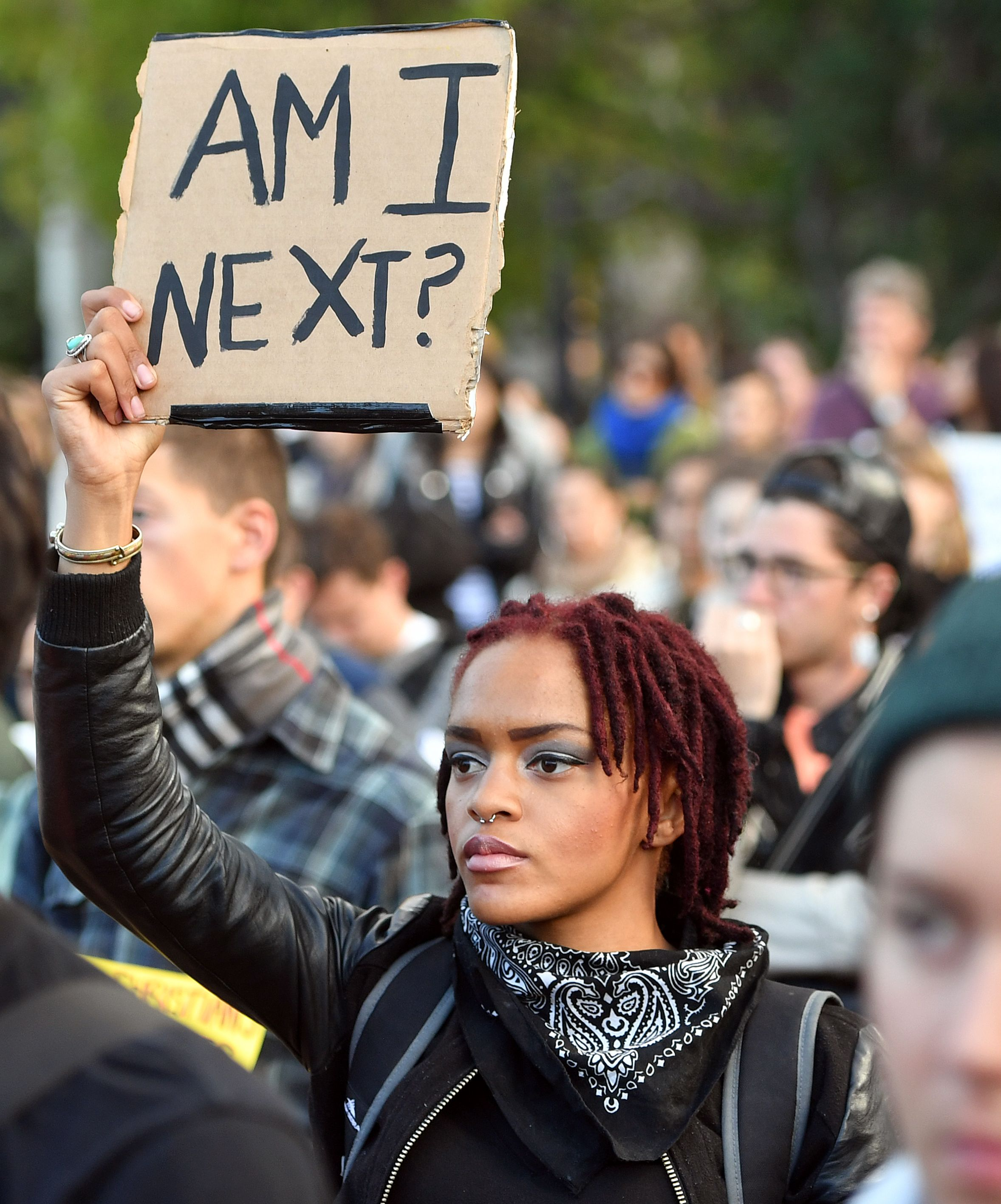 Protester at a rally