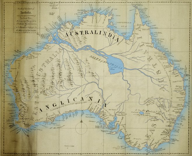 map of that inland sea in his book the friend of australia which provided instructions for surveying and exploring the island continents interior