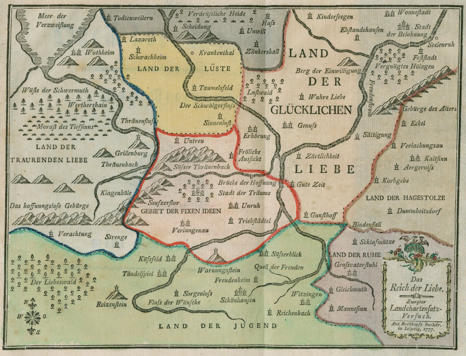 below the map is a listing of the place names in german and an attempt at english translation