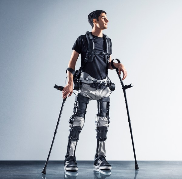 Steven Sanchez walking with exoskeleton