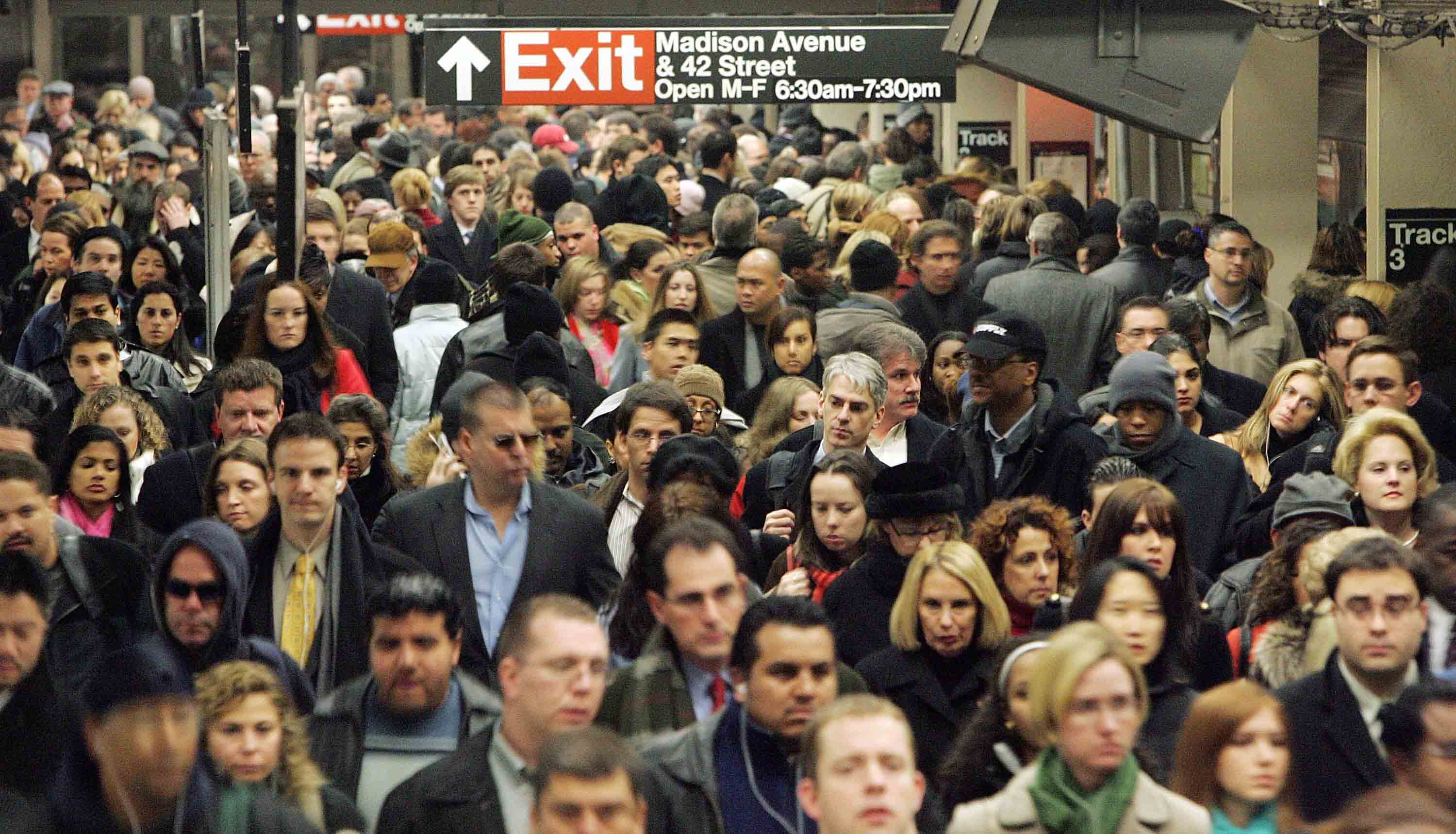 Crowded subway station in New York City.