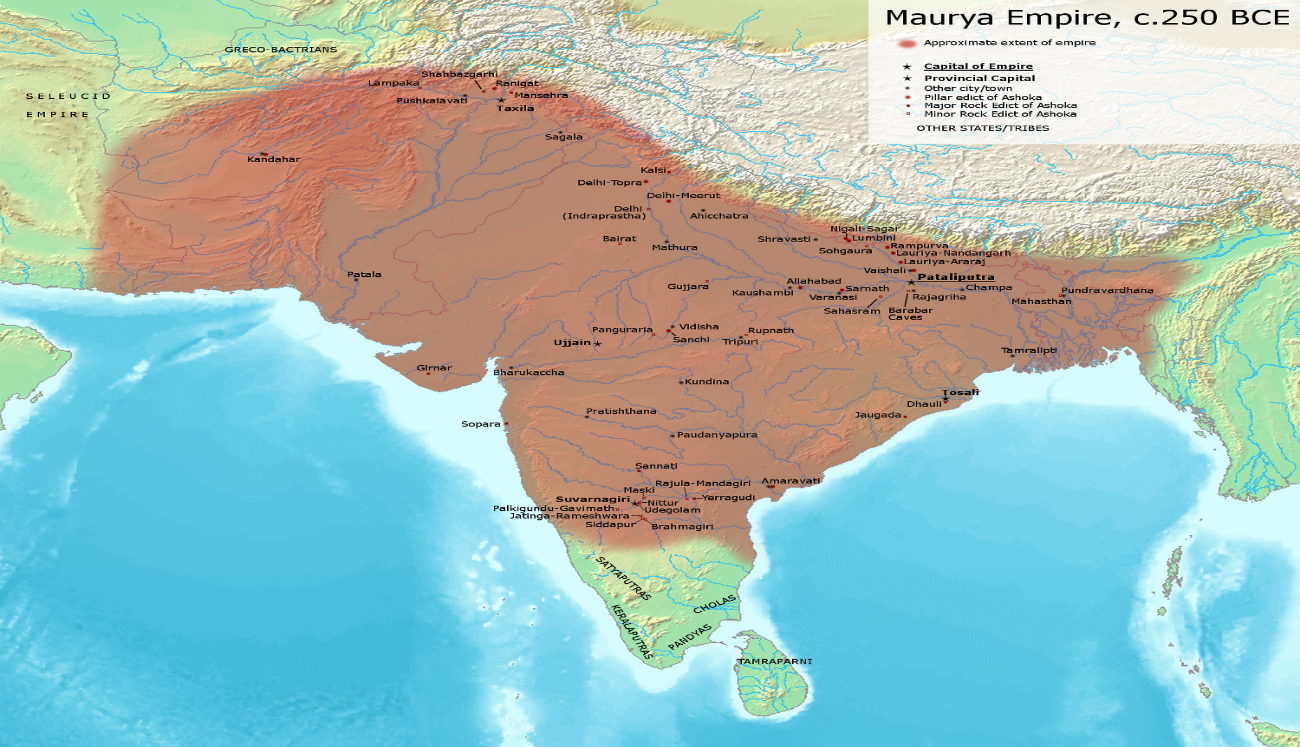 A map of the Murya Empire