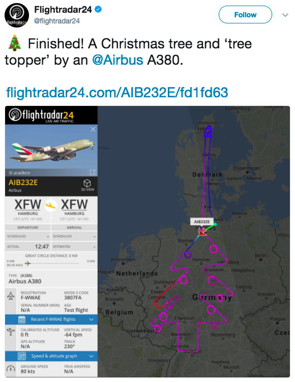Emirates Airbus A380 draws Christmas tree in the sky