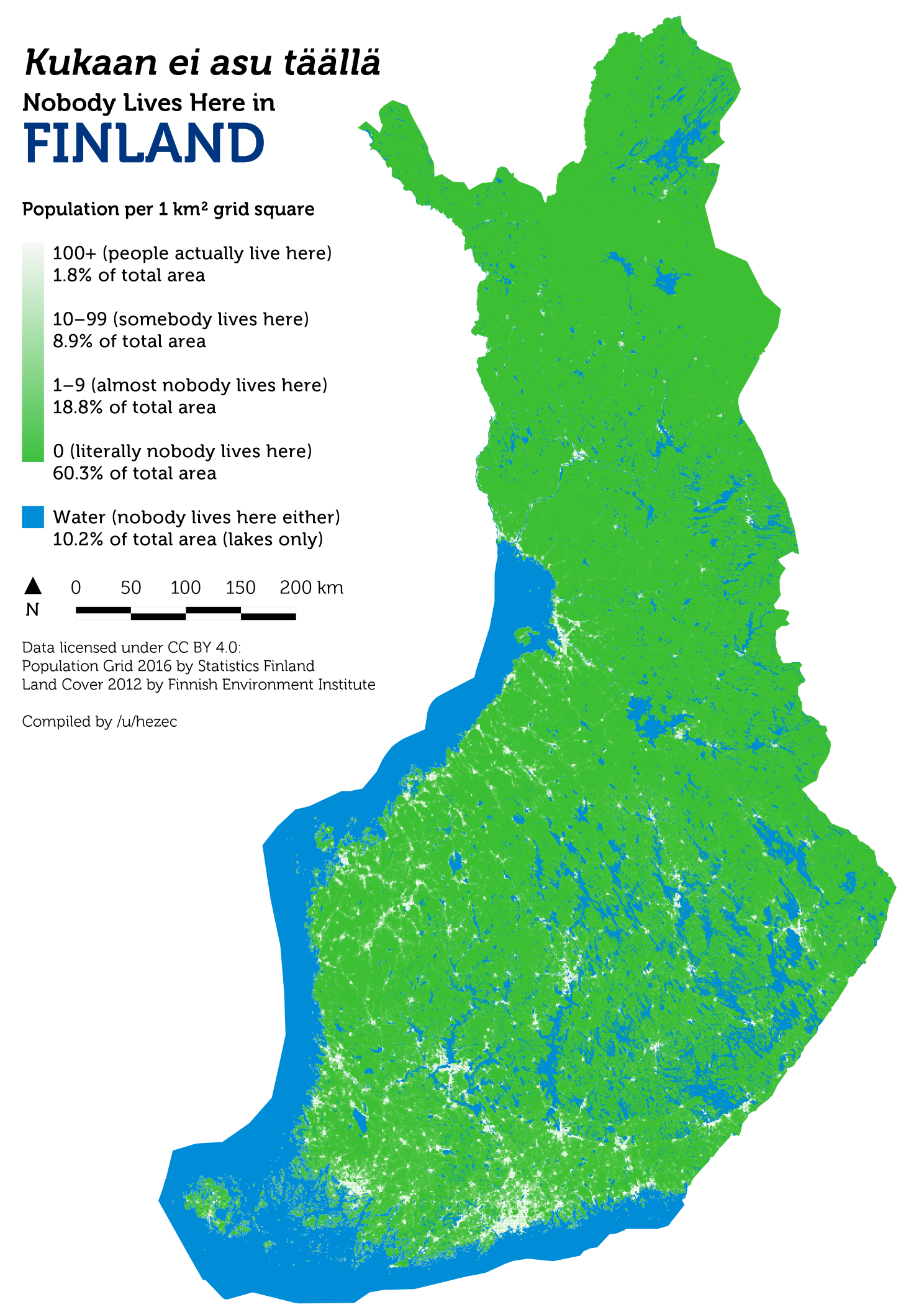 as this map shows finlands population distribution is very uneven about 85 live in urban areas about 25 of all finns live in the helsinki metropolitan
