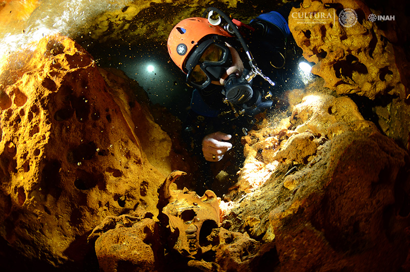 Diver inside the caves
